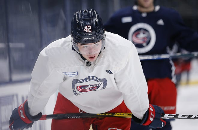 Blue Jackets coach John Tortorella plans to play Alexandre Texier (42) at center while Mikko Koivu is unavailable.