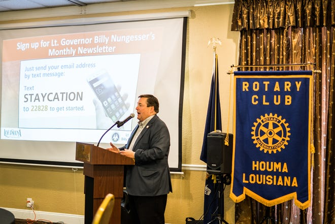Lt. Gov. Billy Nungesser speaks to Rotary members in Houma about his plans and endeavors around Louisiana focusing on tourism
