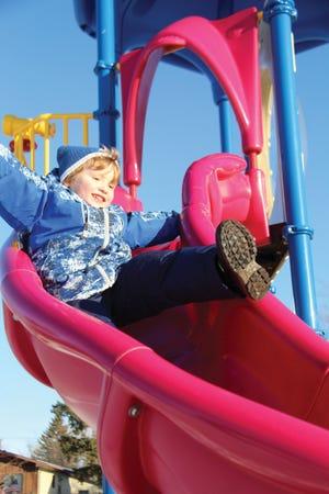 Gunner Kunstleben goes down the slide