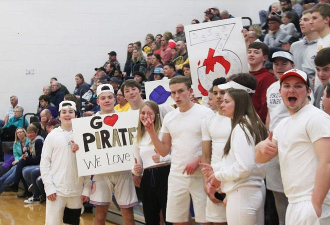Crookston High School students cheer on the Pirates' girls' basketball team during a game against East Grand Forks on Jan. 30, 2020.