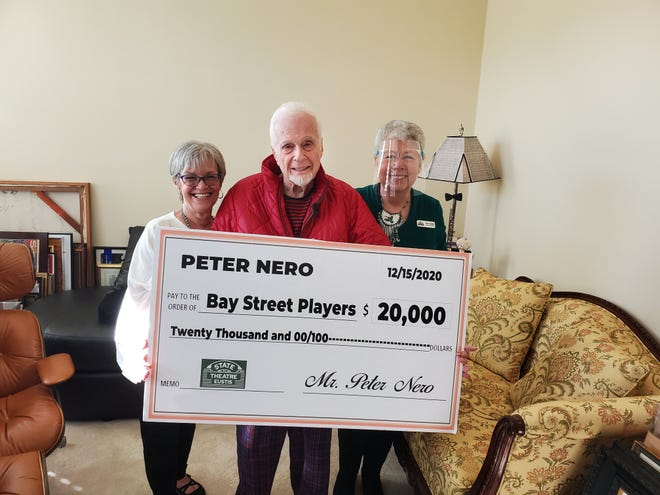 Bay Street Players' Sue Warff and Becky Jaggers pose with pianist and conductor Peter Nero and the check he gave them for $20,000.