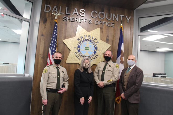 Sen. Joni Ernst, R-Iowa, visits the Dallas County Sheriff's Office in Adel on Monday, Jan. 11.