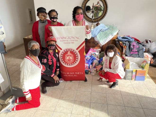 Members of the Lexington Alumnae Chapter of Delta Sigma Theta Sorority Inc. donated clothing to assist and sponsor the Sudan Theological Seminary. Pictured are June Britt, Theresa Scott, Everlena Diggs, Marlena Ricks, Peggy Barnes, president of Lexington Alumnae Chapter, and Charlotte Roberts.
