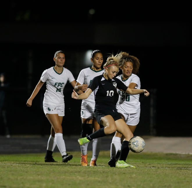 Emily Stout (10) scored two goals for Spruce Creek in its 3-1 win over Flagler Palm Coast Tuesday night, Jan. 12, 2021.