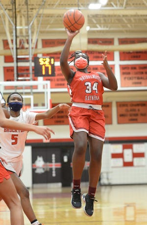 Bridgewater-Raynham's Tahlia Tah, scores a basket during their game versus Brockton, on Tuesday, Jan. 12, 2021. Tah scored a team-high 22 points on Wednesday in the win over St. Mary's (Lynn).