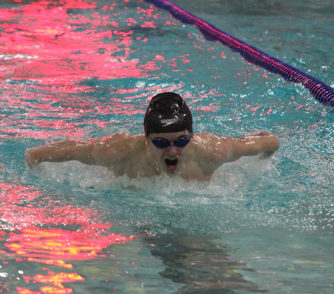 Liam Harris was named the 2021 Male Swimmer of the Year at the Steuben County Championships following an outstanding winter season for Alfred-Almond.