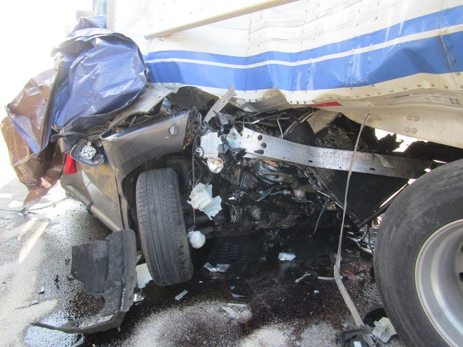 A fatal crash on Interstate 95 in the Kittery and York area in Maine Tuesday, Jan. 12, 2021 involved a Lexus being crushed between two tractor-trailers, killing the couple in the Lexus.