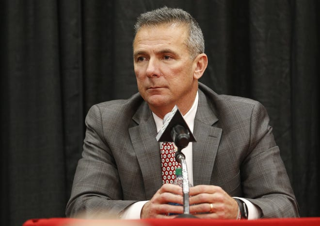 Ohio State NCAA college football head coach Urban Meyer answers questions during a news conference announcing his retirement Tuesday, Dec. 4, 2018, in Columbus, Ohio.