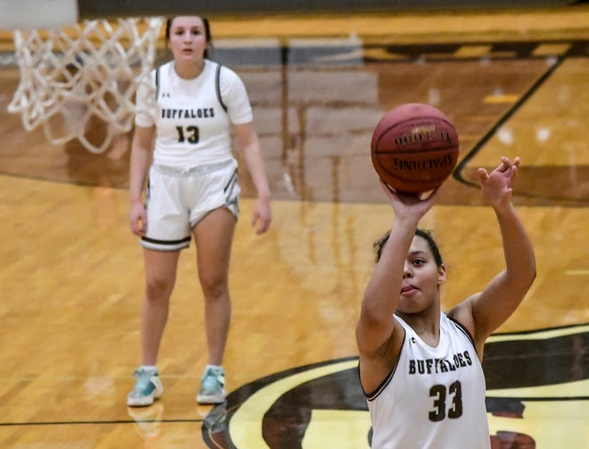 Garden City High School's Keyhana Turner hit four free throws in the closing 30 seconds of the game to help seal a victory Tuesday over Liberal, 42-38, at GCHS. The Buffaloes are now 2-0 in the WAC.