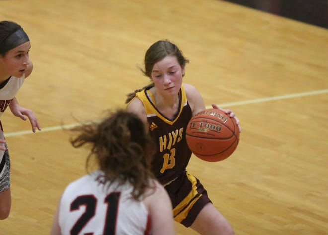 Carly Lang scored 12 points in Hays High's 48-34 win at Great Bend on Tuesday.