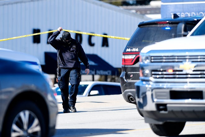 One person died and four others were injured when a retaining wall collapsed in the parking lot of the Hajoca Showroom in Hendersonville Jan. 13, 2021.