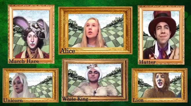 """Hudson High School Drama Club presents their first virtual production, """"Alice's Adventures in Wonderland,"""" an original adaptation of Lewis Carroll's stories of """"Alice in Wonderland"""" and """"Through the Looking Glass."""""""