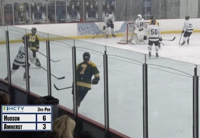 HCTV presents the  battle of the Hudson High School Explorers Hockey vs the Amherst Steele Comets.