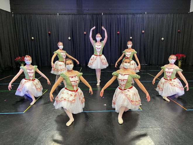 Hudson Conservatory of Ballet dancers created a holiday performance video that was shared with area nursing homes. Pictured is the Teen/Senior Ballet class.