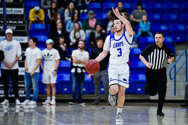 Lubbock Christian University point guard Cameron Copley (3) ranks third in assists per game in NCAA Division II. The 22nd-ranked Chaparrals visit Angelo State on Thursday night in the first of two games between the teams this week.