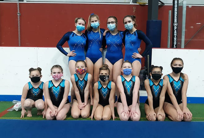 Moberly Gymnastic Academy athletes that competed Jan. 8 at a meet held at Washington, Mo. are Rayleigh Pierce, Sable Blair, Eliana Weiseman, Ansley Boone, Trystan Tiegte, Madison McNamarra and Soulee Best. Second row is Kaleighia Brown, Anna Rivera, Maggie Langston and Katie Phillips.