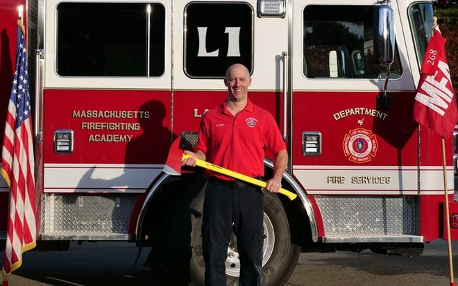 Preston Klem, an East Bridgewater firefighter, is seen in a photo after graduating from the Massachusetts Firefighting Academy in 2018.