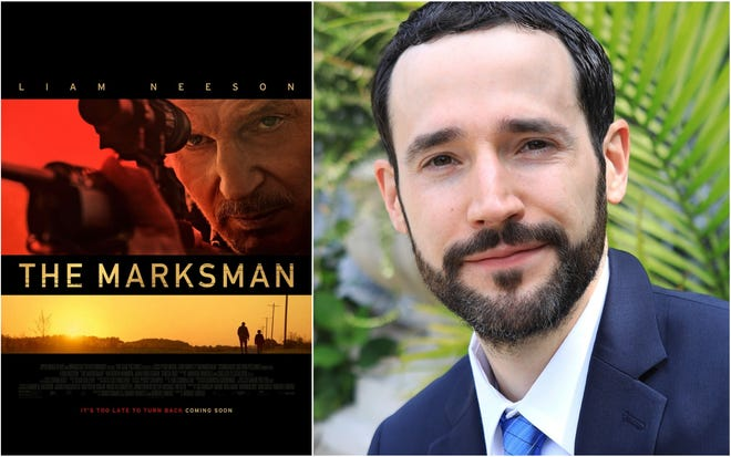 """Screenwriter Chris Charles, a native of Kennebunk, Maine, is seeing a film script he co-wrote, """"The Marksman,"""" hit the silver screen with star Liam Neeson this Friday, Jan. 15, 2021."""