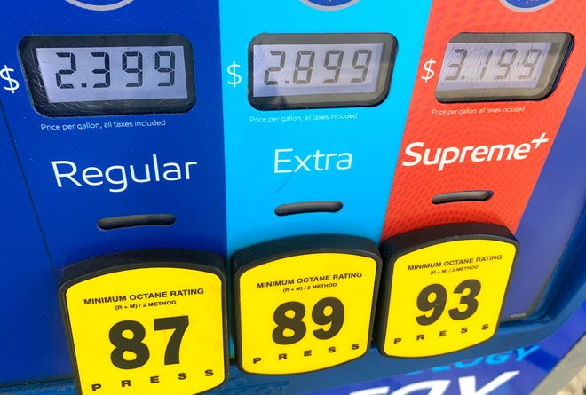 Gas prices at the Mobil station near the Palm Beach International Airport cell phone lot on Belvedere Road in West Palm Beach on Wednesday.