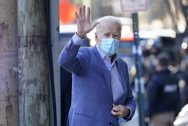 President-elect Joe Biden arrives at The Queen Theater in Wilmington, Del., on Jan. 10.