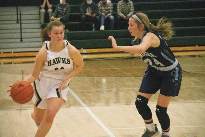 Jenna Achenbach looks to move around a Panorama player on Tuesday, Jan. 12.
