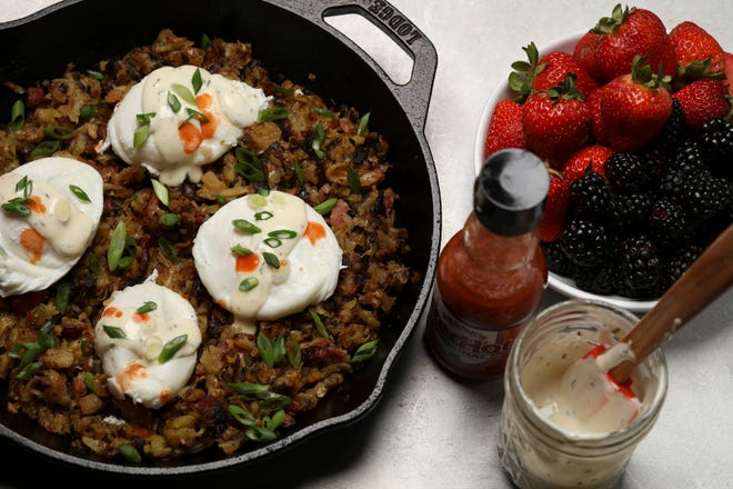 Potato hash with poached eggs can be made at home for an elegant brunch.