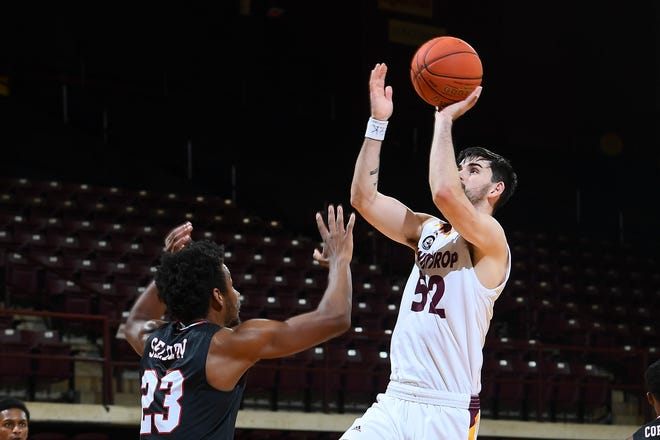 Lake High School product Chandler Vaudrin of Winthrop takes on Gardner-Webb in Big South Conference men's basketball action at the Winthrop Coliseum on Saturday, January 09, 2021 in Rock Hill, South Carolina.