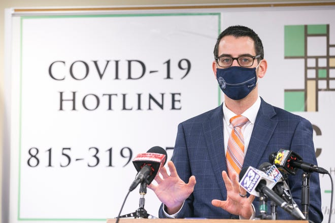 Rockford Mayor Tom McNamara gives updated information at a news conference at the Winnebago County Health Department on Wednesday, Jan. 13, 2021, in Rockford.