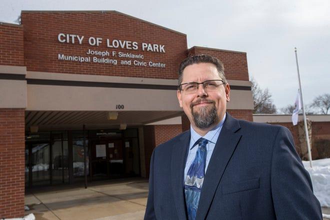 Alderman Clint Little, seen here at Loves Park City Hall on Wednesday, Jan. 13, 2021, in Loves Park, is running for Loves Park City Clerk, a position Bob Burden has held for 24 years.
