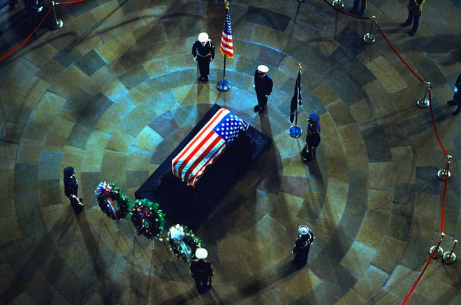 The casket of former President Lyndon B. Johnson is in the Rotunda of the Capitol Building in Washington on Jan. 23, 1973.