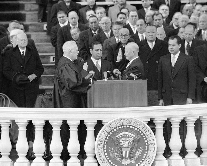 President Dwight D. Eisenhower is sworn in during ceremonies at the Capitol on Jan. 21, 1957.