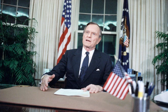 President George H. Bush addresses the nation from the Oval Office on Jan. 16, 1991, after U.S. forces began military action against Iraq. The action has been code named Operation Desert Storm.