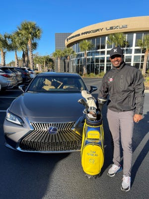 Savannah pro golfer Tim O'Neal, winner of the 2020 APGA Tour Lexus Cup Points Race, takes possession of his new 2021 Lexus ES 350 F Sport sedan at Chatham Parkway Lexus in Savannah.
