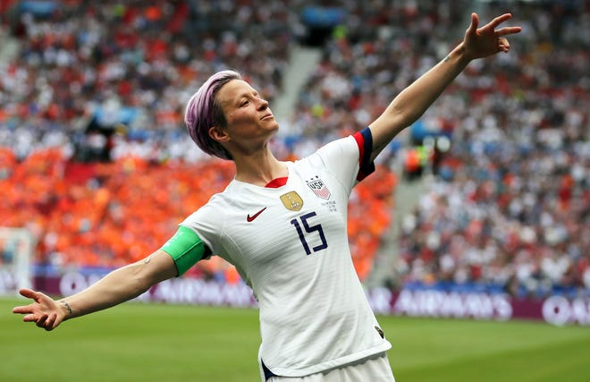 United States' Megan Rapinoe celebrates after scoring the opening goal during the 2019 World Cup.  Rapinoe has returned to the U.S. national team after sitting out most of last year.