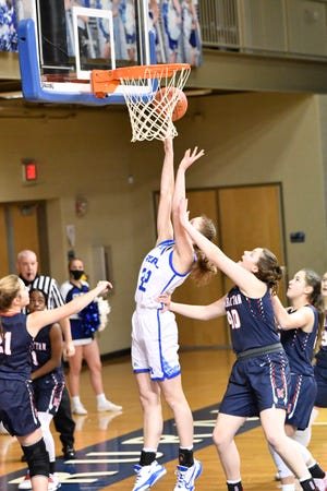 Washburn Rural's Brooklyn DeLeye had her way in the first half against Manhattan on Tuesday, scoring 19 points in the first quarter and 24 in the half in leading the Junior Blues to a 69-31 victory.