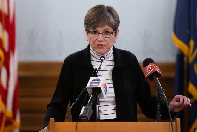 Gov. Laura Kelly speaks during a media briefing on Jan. 7.