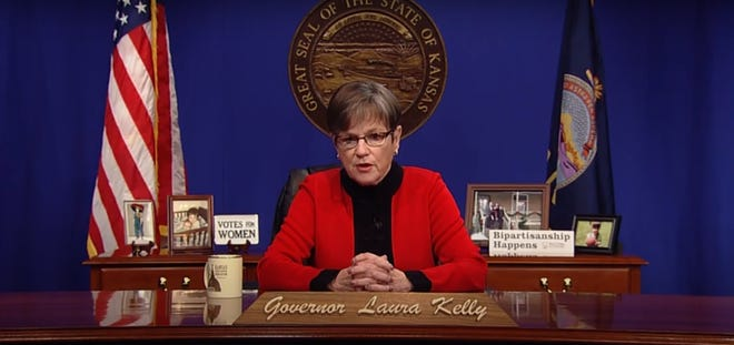 Gov. Laura Kelly gives a virtual 2021 State of the State address Tuesday.