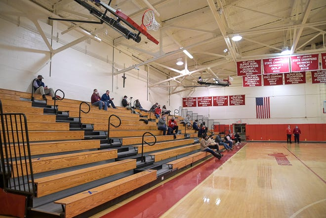 The St. John's fan section is socially distanced due to the COVID-19 rules.
