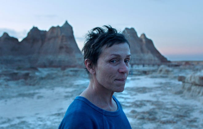 """Frances McDormand in a scene from the film """"Nomadland"""" by Chloe Zhao. McDormand stars as a woman living rootlessly across the American West after the Great Recession."""