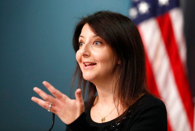 Dr. Mandy Cohen, Secretary of the N.C. Department of Health and Human Services, answers a question during a briefing at the Emergency Operations Center in Raleigh, N.C., Wednesday, Jan. 6, 2021. (Ethan Hyman/The News & Observer via AP)