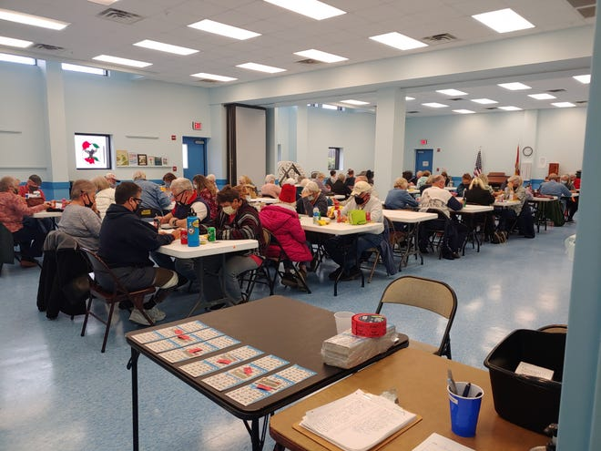 Panama City Beach Senior Center members play Bingo on Jan. 12 in the Oatfield building. All participants had to have their temperature taken and wear a mask. Those who share households were able to be grouped together, while others socially distanced.