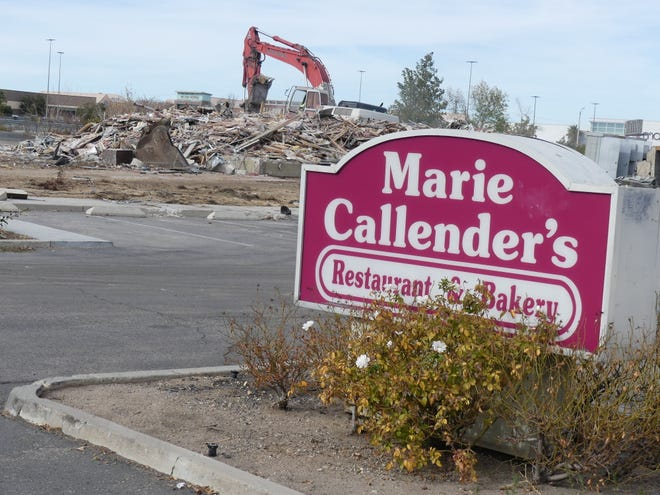 A crew works to demolish the Marie Callender's building in Victorville on Wednesday, Jan. 13, 2021, to make way for the construction of a the High Desert's first Chick-fil-A restaurant on Mariposa Road.
