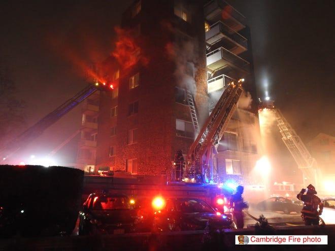 Cambridge firefighters battle a four-alarm fire at 14 Concord Ave., Cambridge, Jan. 12, 2021.