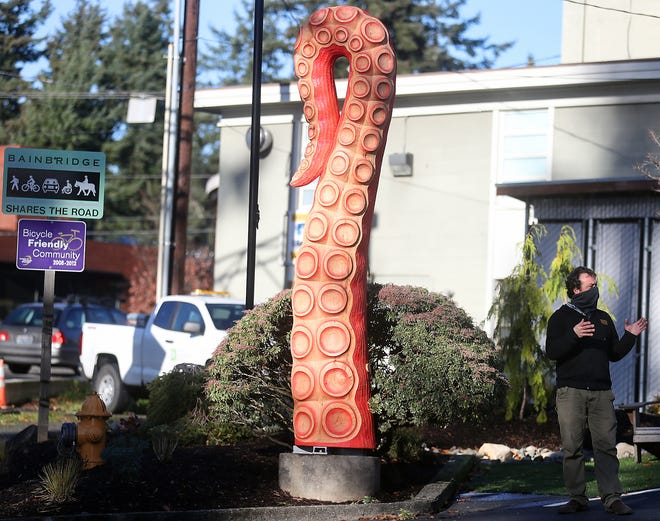 Artist David Franklin talks about the process of creating the tentacle carving that was recently installed along Bainbridge Island's Olympic Drive. Franklin is collaborating on another piece of art that will be showcased at the new Climate Pledge Arena, which will house the Kraken, Seattle's new NHL team.