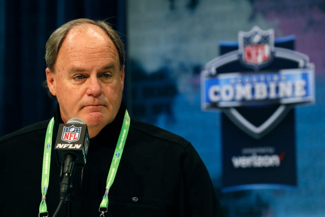 Pittsburgh Steelers vice president and general manager Kevin Colbert speaks during a press conference at the NFL football scouting combine in Indianapolis, Tuesday, Feb. 25, 2020.