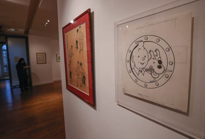 Tinta di atas kertas asli dari karakter komik Tintin dan anjingnya yang bersalju sebagai bajak laut dibuat untuk iklan dan digambar oleh Herge, pencipta Belgia, dipajang di rumah lelang Artcurial di Paris. Karya seni dengan perkiraan nilai 3000 hingga 5000 euro (US $ 3650 hingga 6080), akan dijual Kamis.