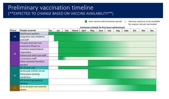 Vaccination will take place in different phases that occur simultaneously, the state said.