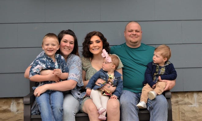 """Oak Harbor is """"Cuffing Cancer"""" for Officer Loren Welch, pictured with his wife Cheyanne, and children Breeanna, Tristan, and twins Lydia and Luke."""