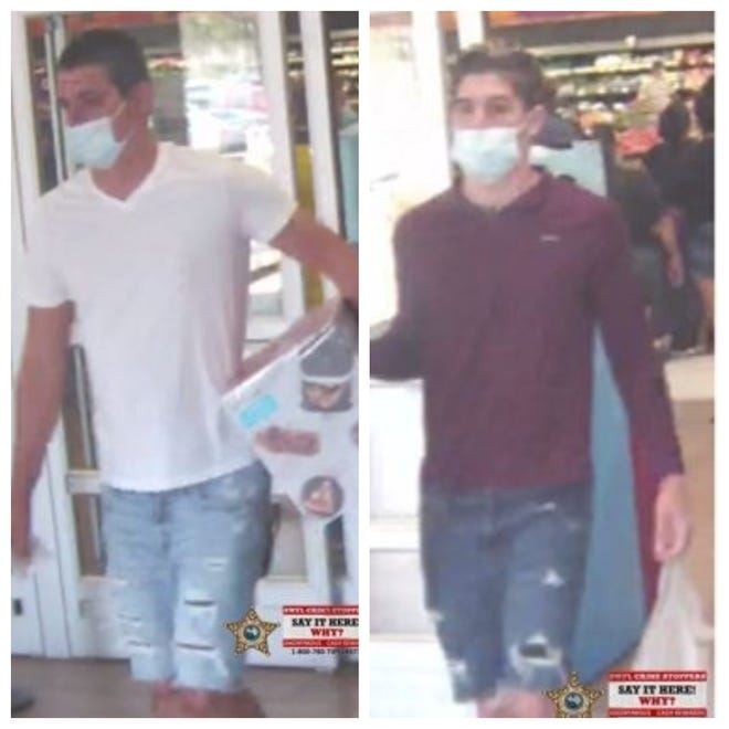 Two Lehigh Acres men have been identified as suspects in a credit cardfraud scheme and are facing charges in Lee County. Photos distributed by SWFL Crime Stoppers on Jan. 7 showed two men alleged to be suspects in the crime.