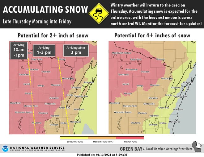 Snow is expected to move into central and northeastern Wisconsin on Thursday.